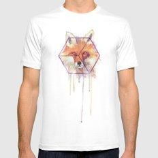 Bonjour Fox!! MEDIUM White Mens Fitted Tee