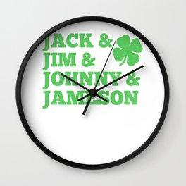 Jack & Jim & Johnny & Jameson Wall Clock