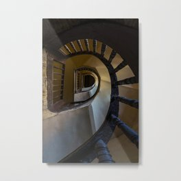 Pretty spiral wooden staircase Metal Print