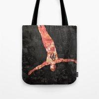 daredevil Tote Bags featuring Daredevil poster by Slug Draws
