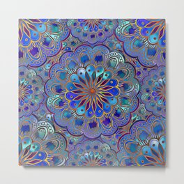 Mandala with Silk Effect Metal Print