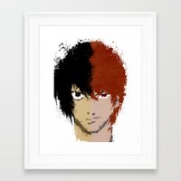 death note Framed Art Prints featuring Death Note by Divya Tak
