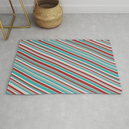 Red, Dark Gray, Light Sea Green & Light Grey Colored Stripes/Lines Pattern Rug