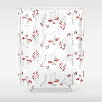 mushrooms Shower Curtains featuring mushrooms by morgan kendall