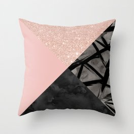 Modern pastel pink black strokes watercolor color block Throw Pillow