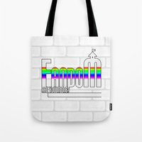 fandom Tote Bags featuring FANDOM by Jessica Jimerson