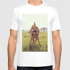 Giraffe Wants to Know MEDIUM White Mens Fitted Tee