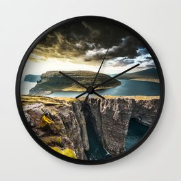 exploring faroe islands Wall Clock