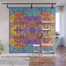 Mandala Painting Digitally Aletered and Trippy Wall Mural
