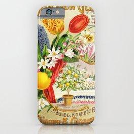 garden 001 Bouquet  Hyacinthus  Tulips  Orange  Daffodil  Lime in Vase3 iPhone Case