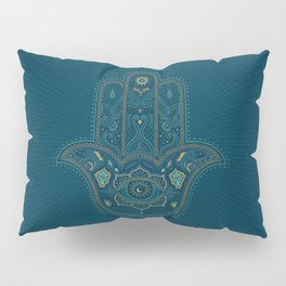 Hamsa Hand in Blue and Gold Pillow Sham
