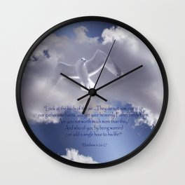 Seagull with Matthew 6:26-26 Verses Wall Clock