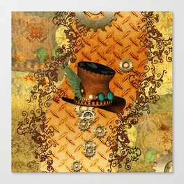 Steampunk, hat with clocks and gears Canvas Print