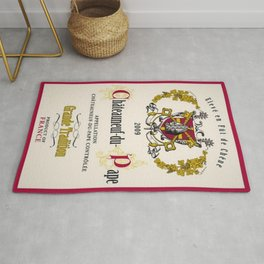 Vintage French Chateau du Page Controlee Wine Bottle Label Print Rug