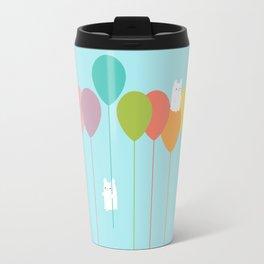Fluffy bunnies and the rainbow balloons Travel Mug