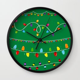 Light Bulbs Collection. Set of Christmas lights for Xmas holiday greeting card design green background Wall Clock
