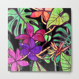 Tropical leaves and flowers, jungle print Metal Print