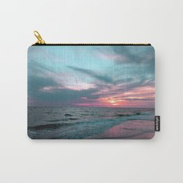 Pink and Teal Beach Sunset tropical vacation Carry-All Pouch