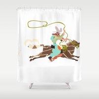 cowboy Shower Curtains featuring Cowboy by Design4u Studio