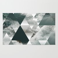 polygon Area & Throw Rugs featuring Waves polygon by cat&wolf