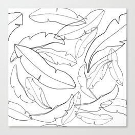 Black and White Banana Leaves Canvas Print