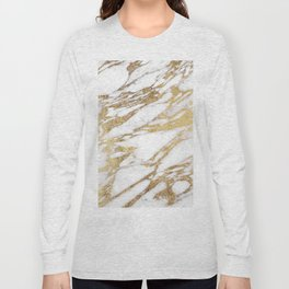 Chic Elegant White and Gold Marble Pattern Long Sleeve T-shirt