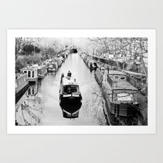 London canal during winter Art Print