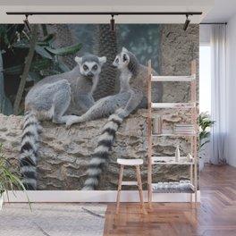 Lemurs on a log Wall Mural