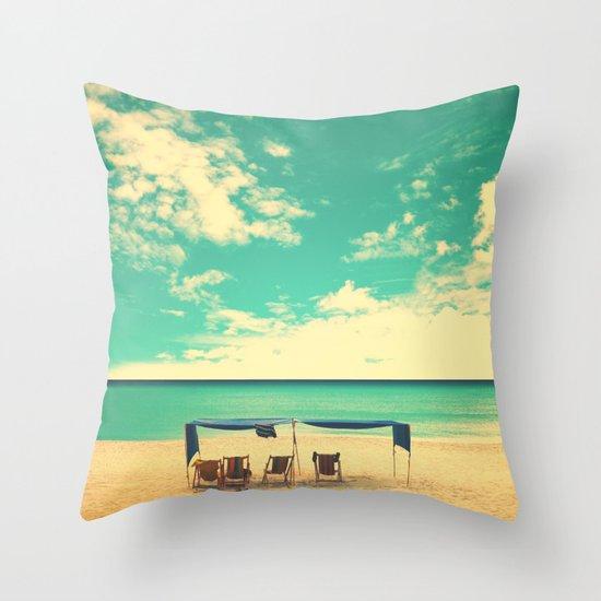 Paradise Beach and Retro Blue Sky  Throw Pillow