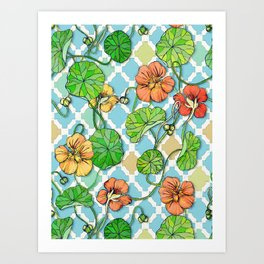 Climbing Nasturtiums on Blue and White Art Print