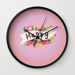 Watercolor Happy Flowers Banner Wall Clock