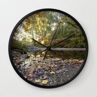 indiana Wall Clocks featuring indiana fall by Bonnie Jakobsen-Martin