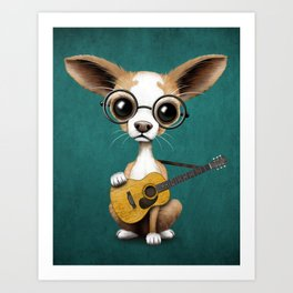 Chihuahua Puppy Dog Playing Old Acoustic Guitar Teal Art Print