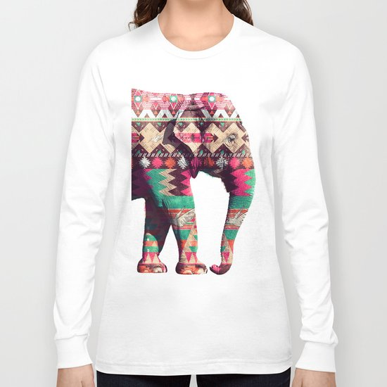 Whimsical Aztec Elephant Pink Turquoise Geometric Long Sleeve T-shirt