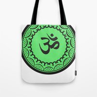 religious Tote Bags featuring Black And Green Islam Religious Symbol by ArtOnWear