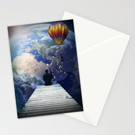 Playing from the moon Stationery Cards