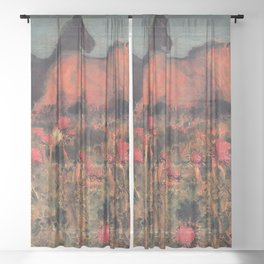 Wild Horses, Red Poppy, & Shepard Night landscape painting  by Mikhail Vrubel Sheer Curtain