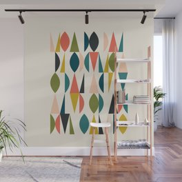 Mid Century Modern Abstract Colorful Shapes Funky Cool Minimalist Pattern Wall Mural
