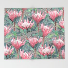 Pink Painted King Proteas on grey Throw Blanket