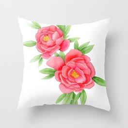 Watercolor Peonies Throw Pillow