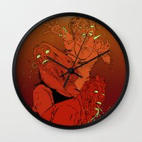 zombies Wall Clocks featuring ZOMBIES by Marcus Wild