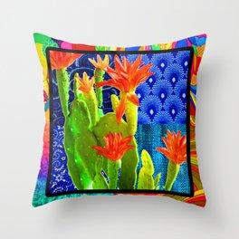 Orange Cactus Rainbow Throw Pillow