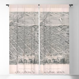 Vintage Pictorial Map of Ann Arbor Michigan (1890) Blackout Curtain