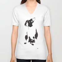 boston terrier V-neck T-shirts featuring Boston terrier by OHOO SIX