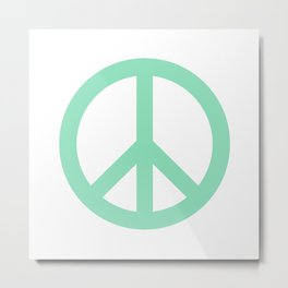 Peace (Mint & White) Metal Print