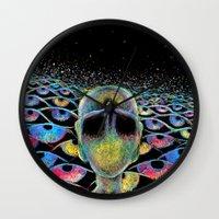 third eye Wall Clocks featuring third eye by Blu*