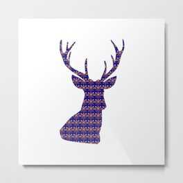 Bohemian Deer Head Metal Print