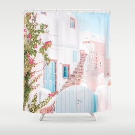 Santorini Greece Mamma Mia Pink House Travel Photography in hd. Shower Curtain