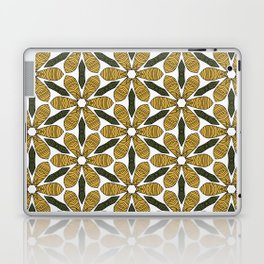 Hand Drawn Yellow Flower & Green Leaves Pattern Laptop & iPad Skin