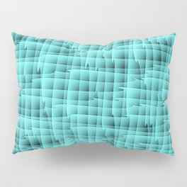 Square pastel curved stripes with interweaving of the bark of a light blue tree trunk. Pillow Sham